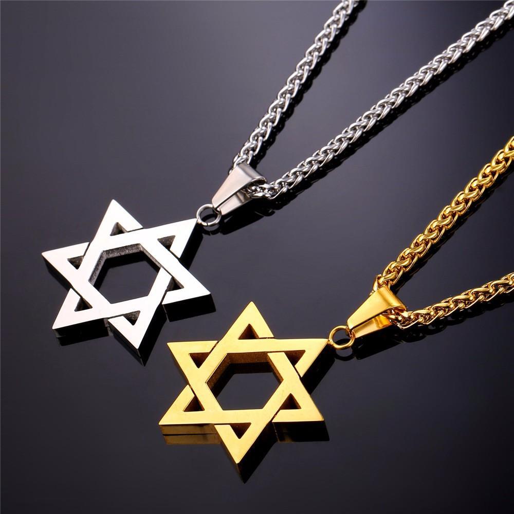 Collare Magen David Estrella de la cadena colgante collar de la mujer Israel acero inoxidable Judaica Oro / Negro Color de judía Hombres P813 joyería