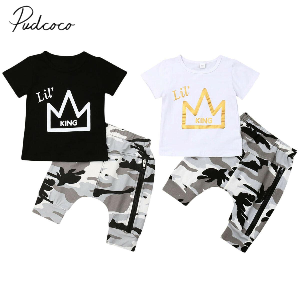 2019 Baby Summer Clothing Toddler Kids Baby Boys Crown Print Tops T-shirt Camo Zip Pants Fashion Outfits 2pcs Set Clothes