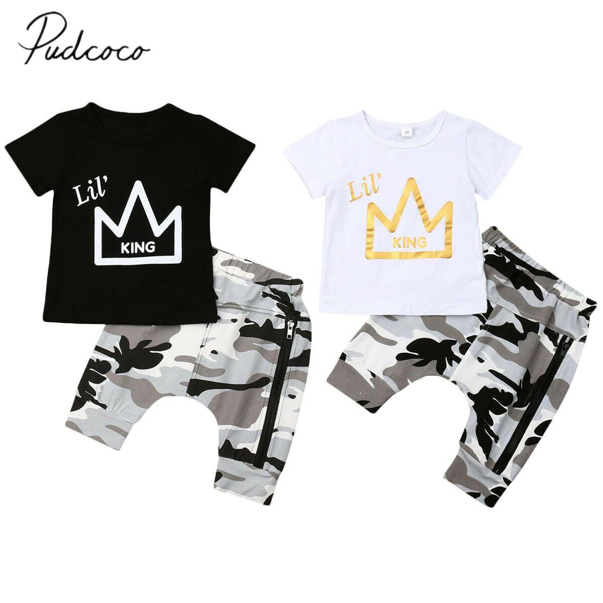 2019 Baby-Sommer-Kleidung Kleinkind-Kind-Baby-Jungen Crown Print Tops T-Shirt Camo Zip Hosen Fashion Outfits 2ST Set Kleidung