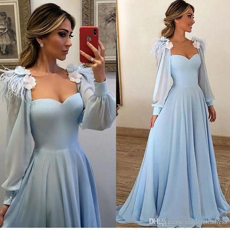 Chiffon Long Sleeve Evening Dresses 2019 Elegant Sweetheart A Line With  Feather Plus Size Prom Gowns Black Evening Dresses Black Formal Dresses  From ...