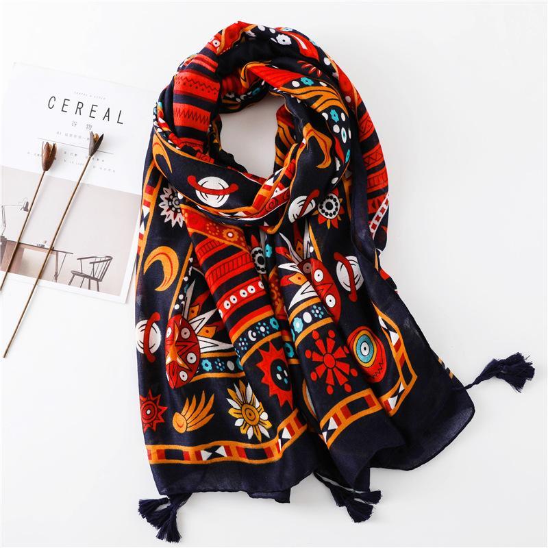 인도 여성의 인쇄 따뜻한 히잡과 랩 무슬림 Sjaal T200407에서 가을 겨울 패션 아프리카 민족 꽃 술 비스코스 숄 스카프
