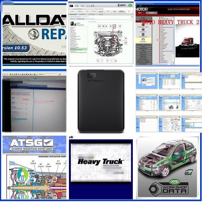 Alldata 2020 Auto Repair Macio-ware todos v10.53 dados + Mi-tchell + caminhão pesado + atsg 46 in1 1TB HDD para todos os carros caminhões