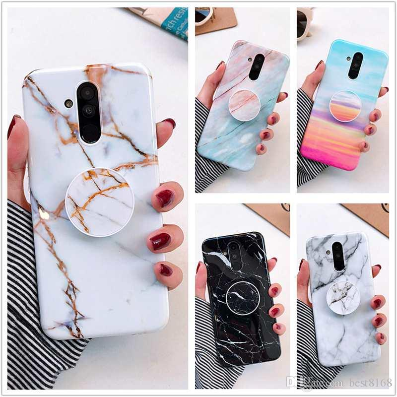 With Bracket +Marble Soft TPU Case For Iphone XS MAX XR X 8 7 6 Huawei P30 Lite P20 Pro Mate 20 Luxury Stone Rock Cover +Grip Ring Holder
