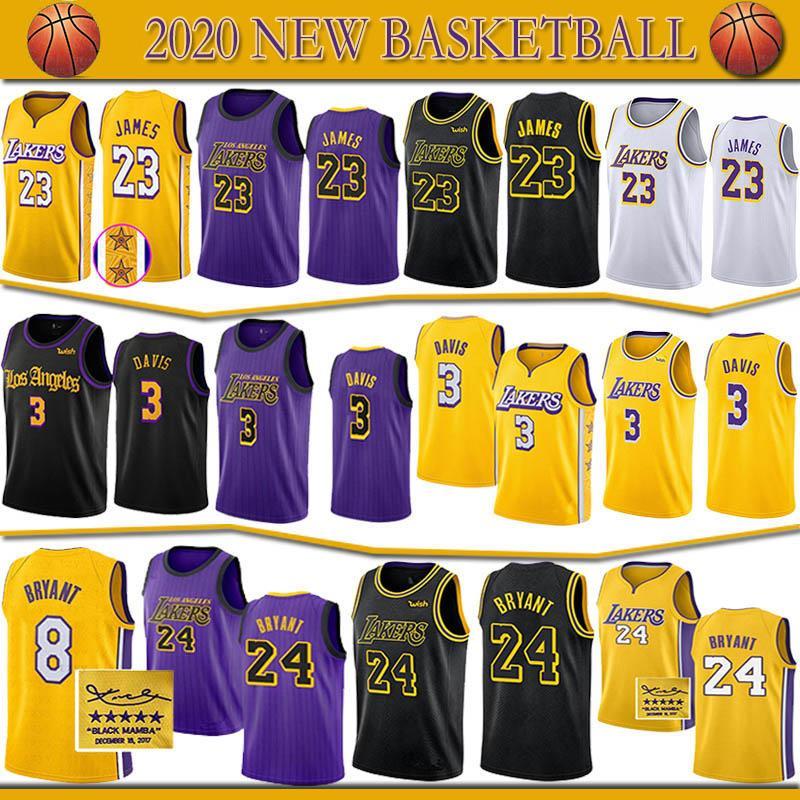 Los Angeles #LakersErkek 23 LeBronJamesjersey 3 AnthonyDavisYüksek kaliteli 24Bryant 8 Basketbol formaları