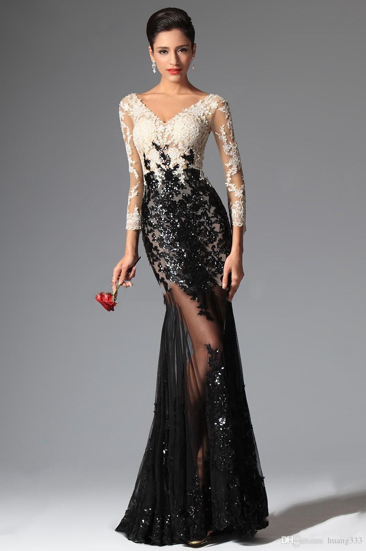 2019 НОВЫЕ сексуальные прозрачные кружевные вечерние платья Черно-белая русалка с длинными рукавами Вечерние платья для выпускного вечера V-образным вырезом с блестками и кружевами аппликации 427