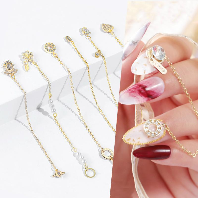 Metal Crystal 3D Nail Art Decorations Crystal Rhinestones Fashion Chains Janpnese Nail Jewelry Charm Manicure Ornaments