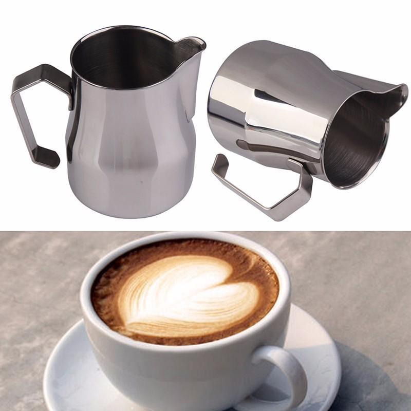 Jarra de acero inoxidable leche espumejea Jug grueso Café Leche Lanza espuma de café italiano Latte Art jarra de leche 350/550 / Herramientas de 750Ml Barista
