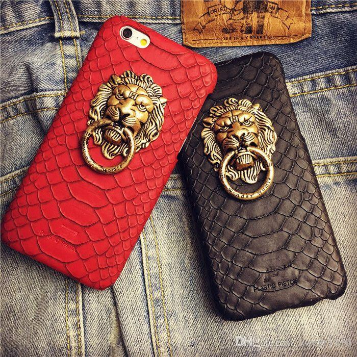 Luxury Chinese Style Retro Lion Head Ring Buckle Snake Door Ring Phone Case Cover For Iphone 5 5s Se 5g 6g 6 6s Plus 7 7plus Phone Case
