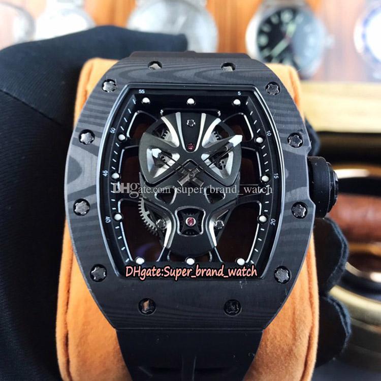 Dernière édition RM 52-06 Masque en fibre de carbone boîtier en or rose Kabuki Masque Skeleton Dial Japon Miyota automatique RM052 Mens Watch Montres de luxe