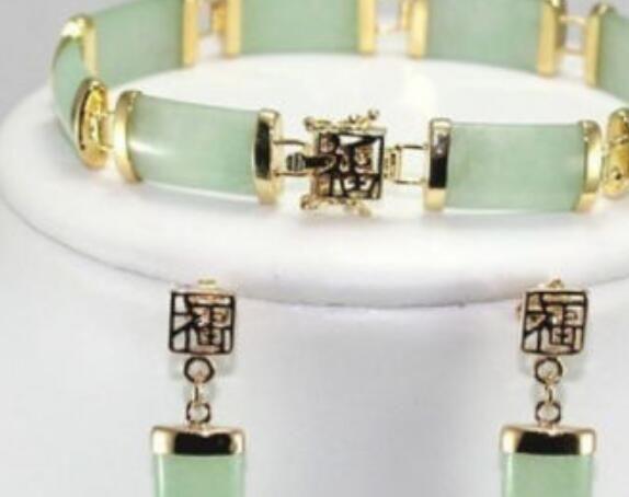 Collier chaud! Noble boucles d'oreilles de bracelet de lien de jade naturelles Beaux ensembles