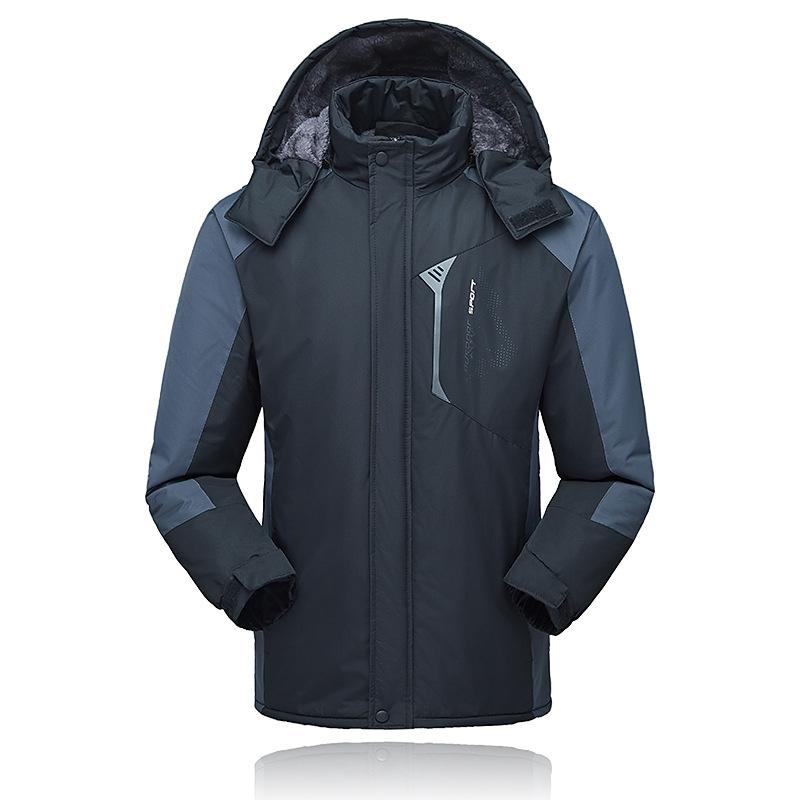 Outdoor Waterproof Jacket Men's Hooded Sports Brushed And Thick Warm Jacket Mountaineering Customizable Logo