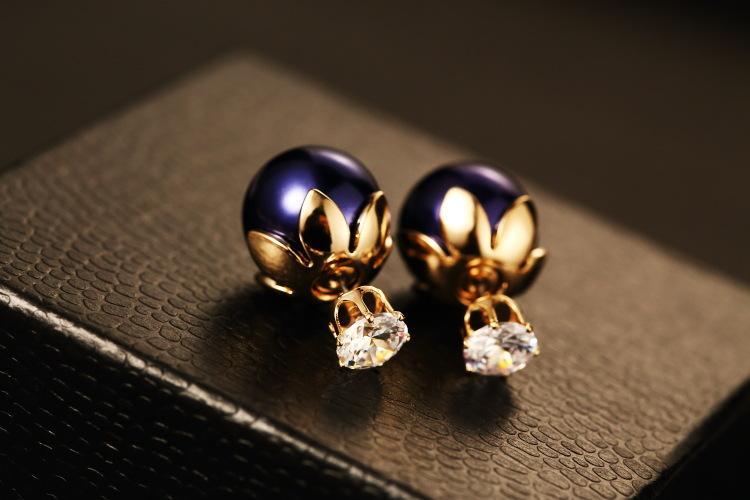 Großhandels-Neue trendige Mode Luxus-Designer-schöne Blätter Zirkon Diamant Perlenohrstecker für Frau Silberstift