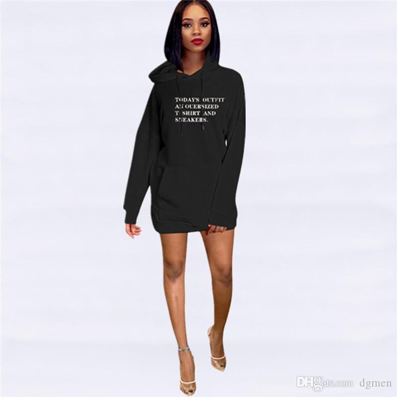 Lettera Stampa progettista delle donne casual con cappuccio vestiti da modo grande tasca vestiti delle donne incappucciate rivestite Abbigliamento Donna