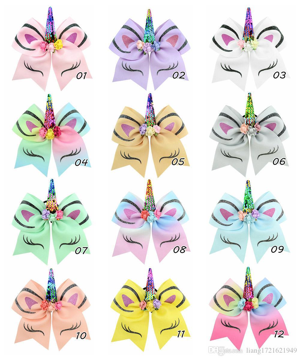 7 inchLarge Pailletten Einhorn Haarschleife Haarband Für Mädchen Handgemachte Regenbogen Dance Party Stirnband Kinder Boutique Haarschmuck für frauen