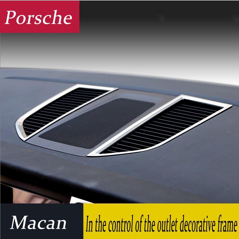 자동차 스타일링 크롬 에어컨 벤트 프레임 커버 포르쉐 마칸 인테리어 장식 조각 공기 배출구 패널 장식 스트립 3D 스티커 트림