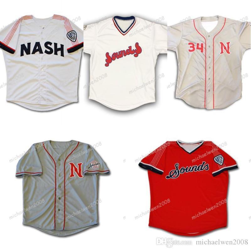 Mens Nashville soa azul marinho branco cinza vermelho personalizado costurado camisas de beisebol
