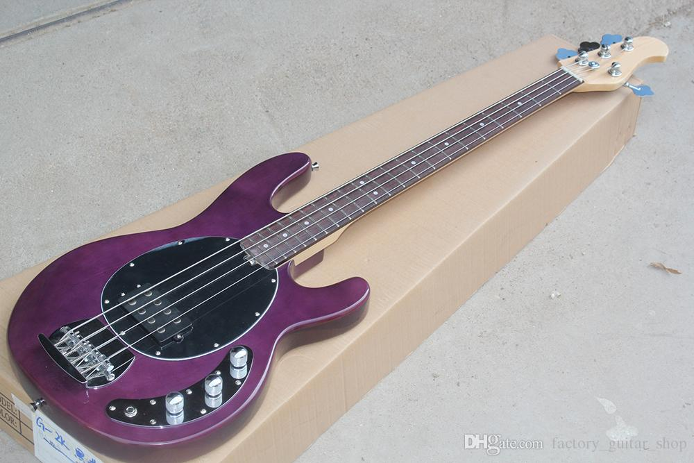 Factory Custom 4-string Purple Electric Bass Guitar with Rosewood Fingerboard,Black Pickguard,Chrome Hardwares,Offer Customized