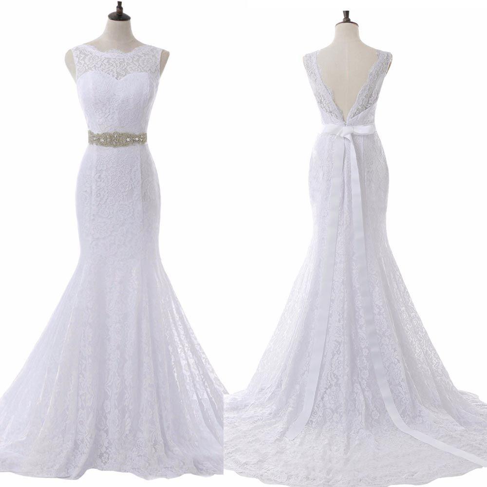 Vestidos de novia de sirena de encaje clásico Vestidos de novia Vestidos de boda Correa de cristal Corte de tren Sin respaldo 2019 Tallas grandes personalizadas