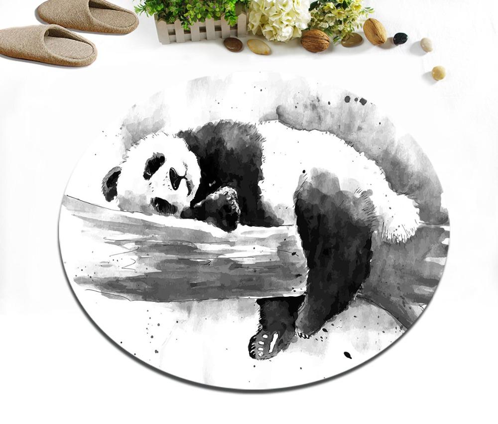 Watercolor Ink Black And White Panda Round Children's Room Area Rug Bedroom Floor Cushion Bathroom Non-Slip Carpet Home Door Mat