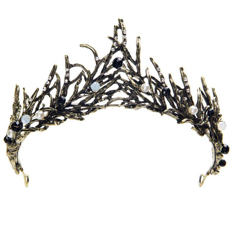 Baroque Retro Tree Branch Flame Crystal Crown Headdress Princess Bride Wedding Hair Accessories Fashion Party Banquet Accessories