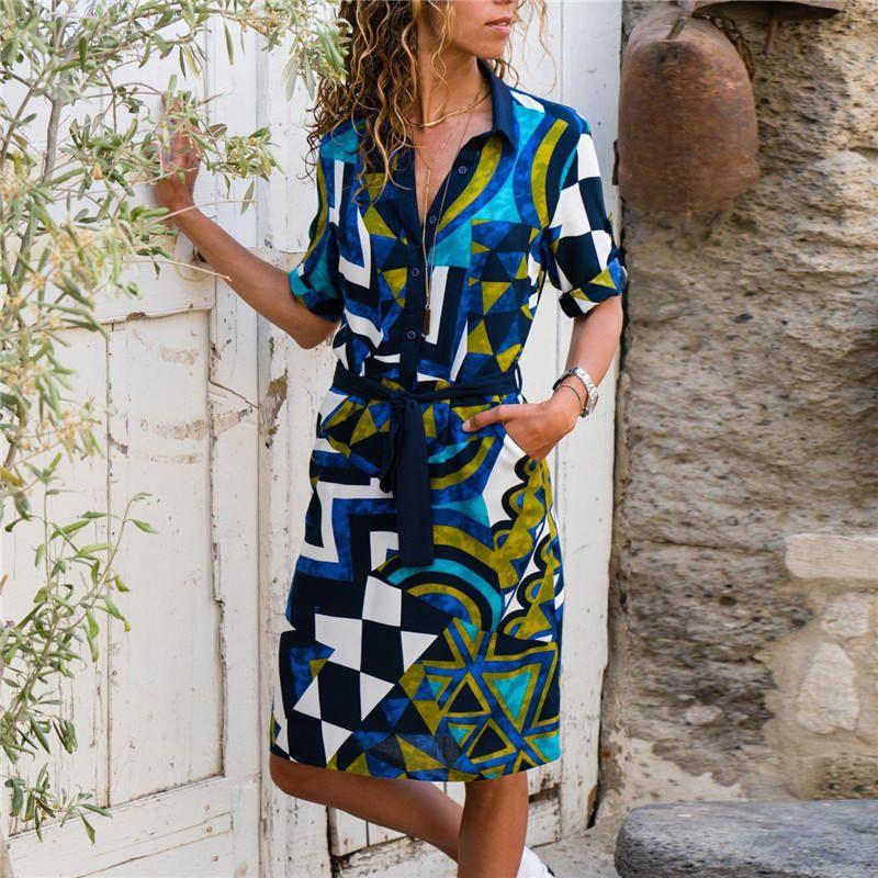 Sommer Striped A-Linie Kleid Boho Strand-Kleid-Frauen Langarm-Büro-Hemd-Kleid Minipartei-Kleid