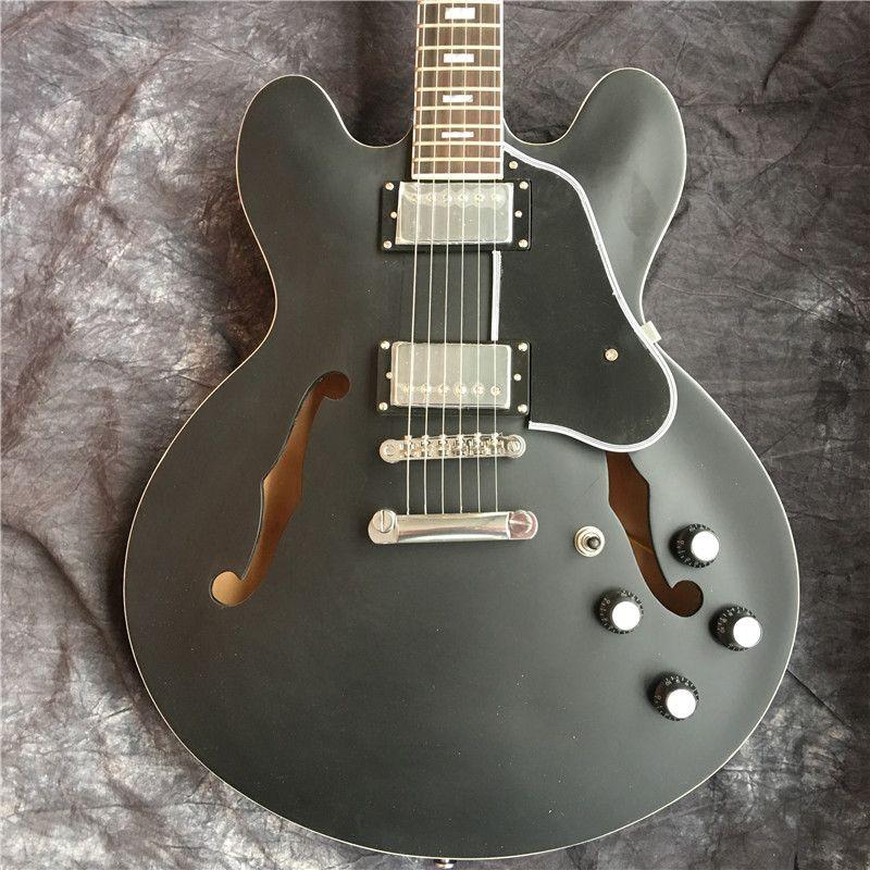Personalizzato Hollow Jazz Guitar 335 chitarra elettrica in nero Top chitarra OEM Disponibile la spedizione gratuita (Più colore può essere adattato)