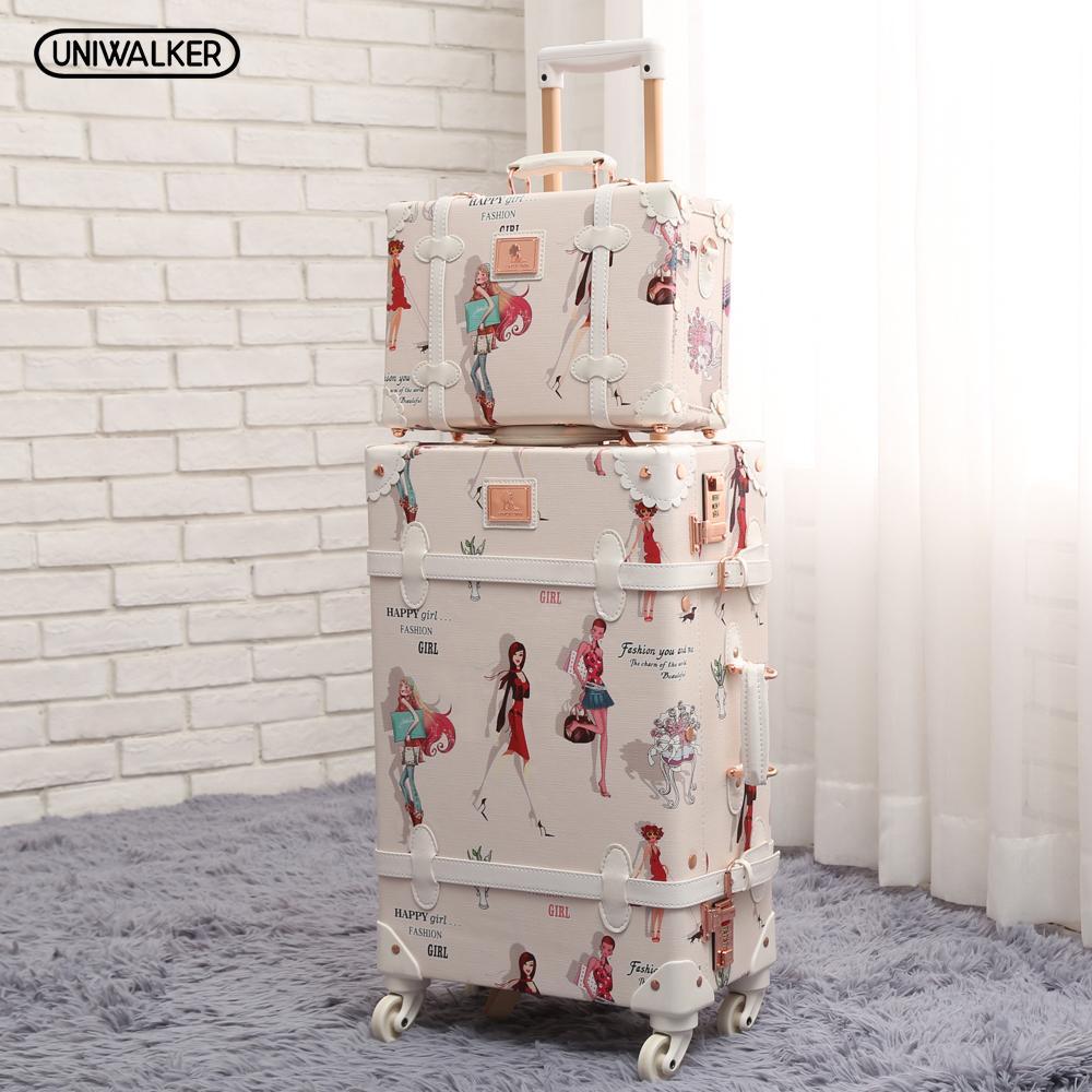 "UNIWALKER 20"" - 26"" Fashion Girl Retro Rolling Luggage Bagages Pu Leather Suitcase Trunk Vintage Valiz Spinner Wheels Trolley"