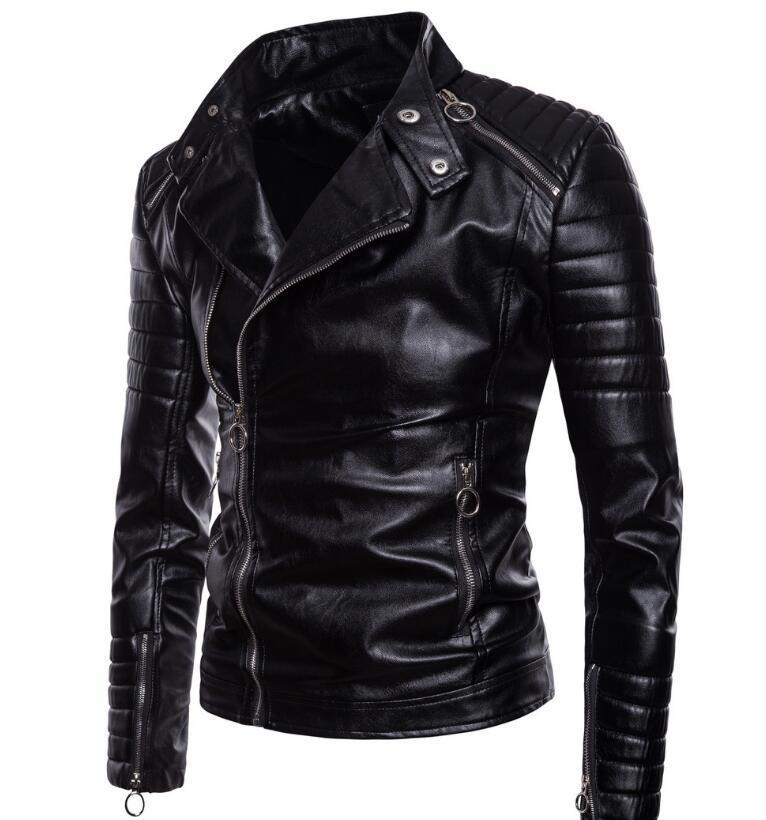 M-5XL HOT 2019 Spring New Fashion Jacke personnalisé classique locomotive à glissière diagonale Hommes veste PU