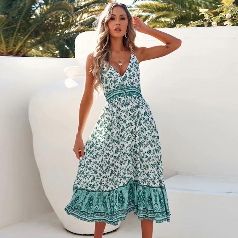 Womens Summer Floral Printed V Neck Sleeveless Midi Casual Party Dress