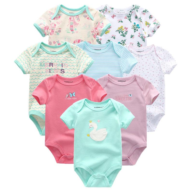 8pcs/lot 2018 Summer Short Sleeve Set Baby Rompers Baby Jumpsuit Boy Ropa Bebe Baby Boy Clothes Y19050602