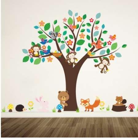 Orman hayvanlar maymun çiçek ağacı altında oynamak için duvar sticker çocuklar için bebek kreş çocuk odası süslemeleri dekor ev çıkartması