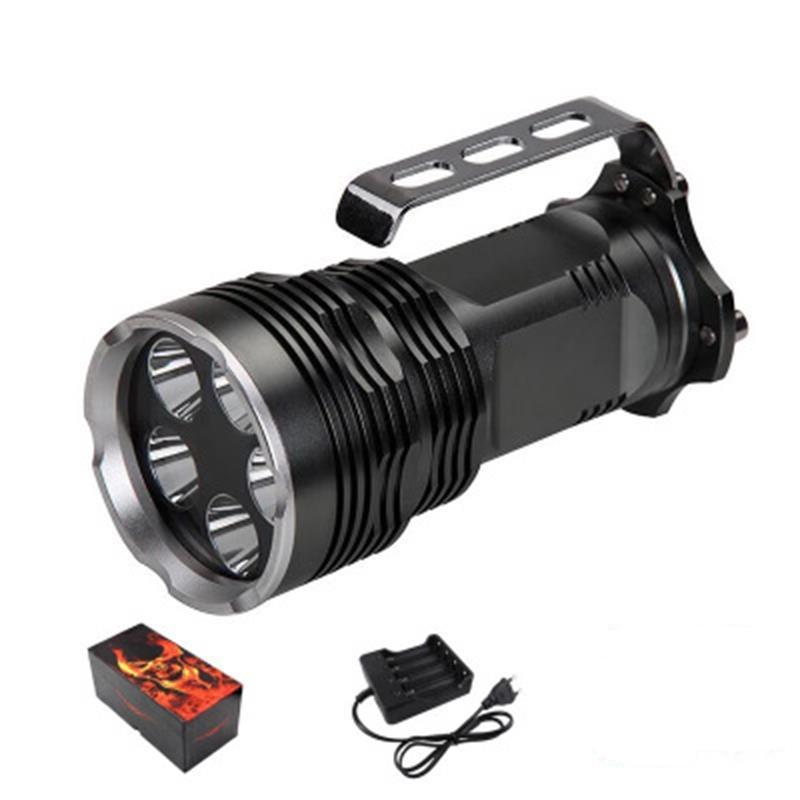 2019 50W UV-Taschenlampe 5 LED UV 395nm Lila-Licht-Fackel Linterna Verwenden 4 * 18650 mit USB-Ladegerät