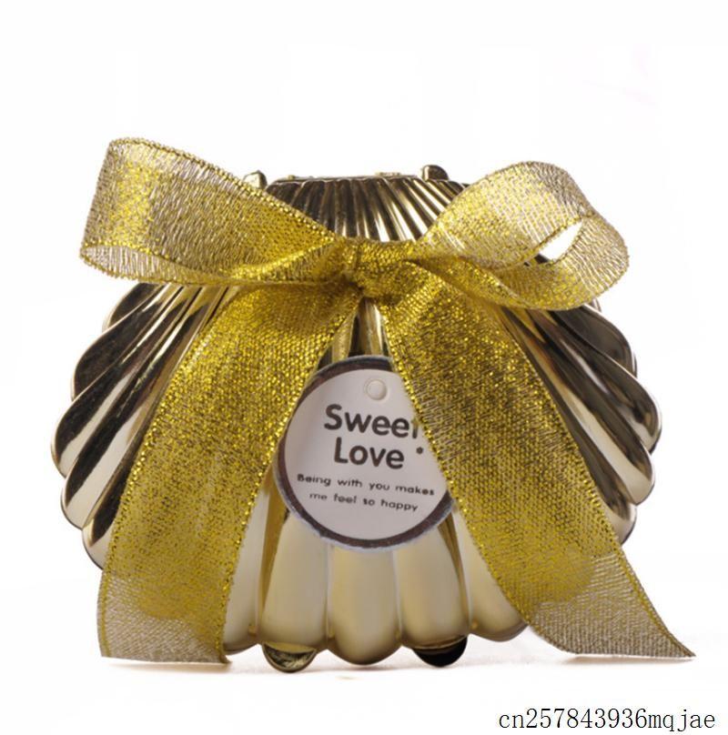 Морские раковины коробки конфет с Бабочка узел шоколада Подарочные коробки держатель Свадебные сувениры партии подарок