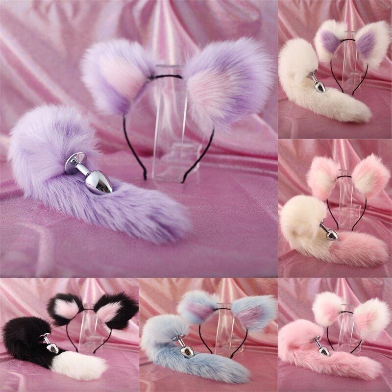 Mignon doux chat oreilles Bandeaux avec 40cm Fox Tail Bow Métal Butt Plug Anal Erotic Cosplay Accessoires Adult Sex Toys pour Couples MX200410