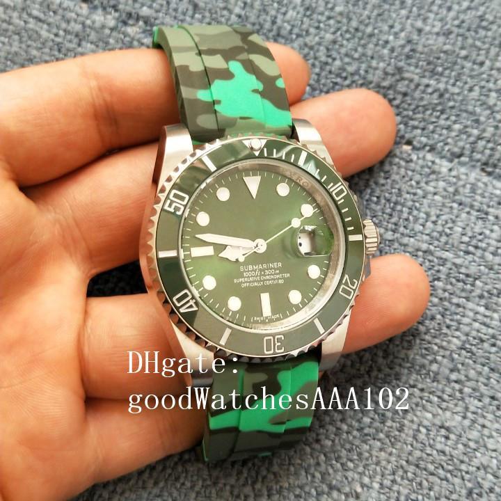 높은 품질 남성 시계 116610 개 116610LV 40mm 녹색 다이얼 고무 스트랩 밴드 우수한 자동 남성 시계 패션 손목 시계
