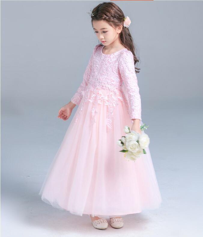 Personalizado feito de alta qualidade branco princesa vestidos meninas vestidos de renda vermelha vestidos de casamento menina saia uma manga comprida para os vestidos de bola