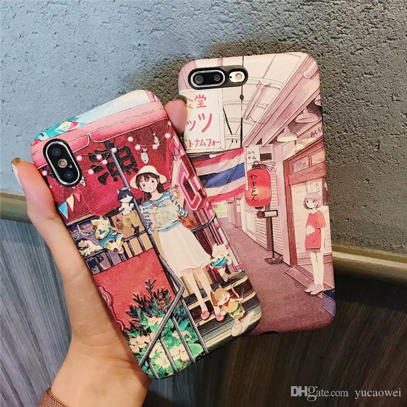 Creative Japanese and Wind Illustration Girl Apple X iPhone7 Relief 8Plus Full Package Soft Shell