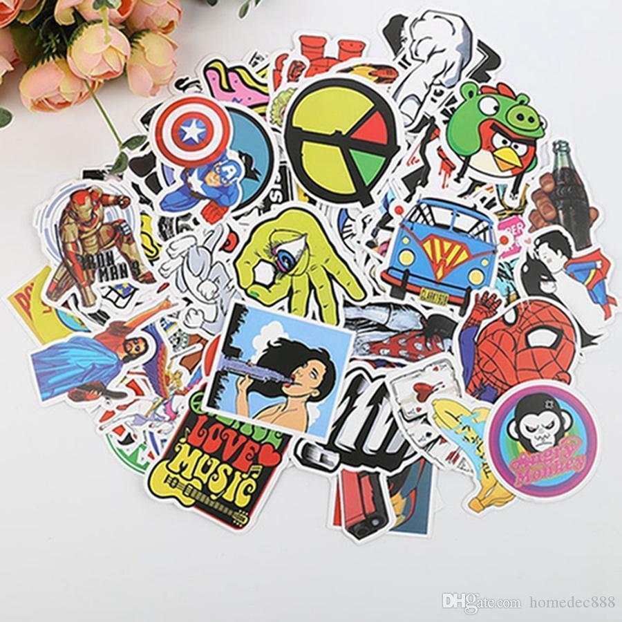 Stickers muraux Valise à roulettes de moto autocollants pour ordinateur portable étanche DIY Cartoon autocollant beaucoup de Autocollants PVC imperméable de DH0922