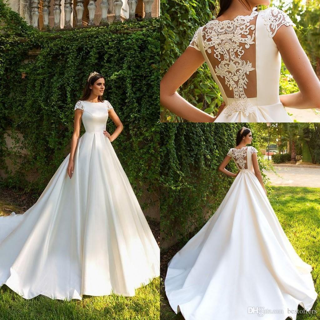 Short Sleeve A Line Satin Court Train Wedding Dresses 2019 Gorgeous Appliques Princess Bride Gown Vestido de Noiva BC0401