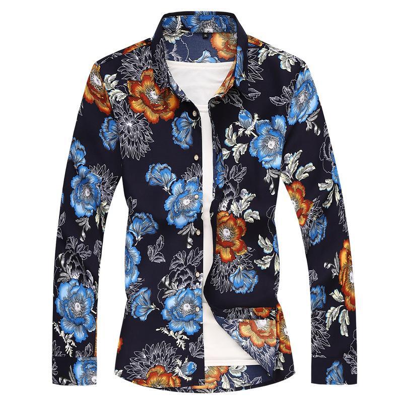 E-Baihui 2020 europäische und amerikanische Männer langärmelige Hemden plus Größen-beiläufige schmalere Jacken Printed Blumen Shirts für Männer 404