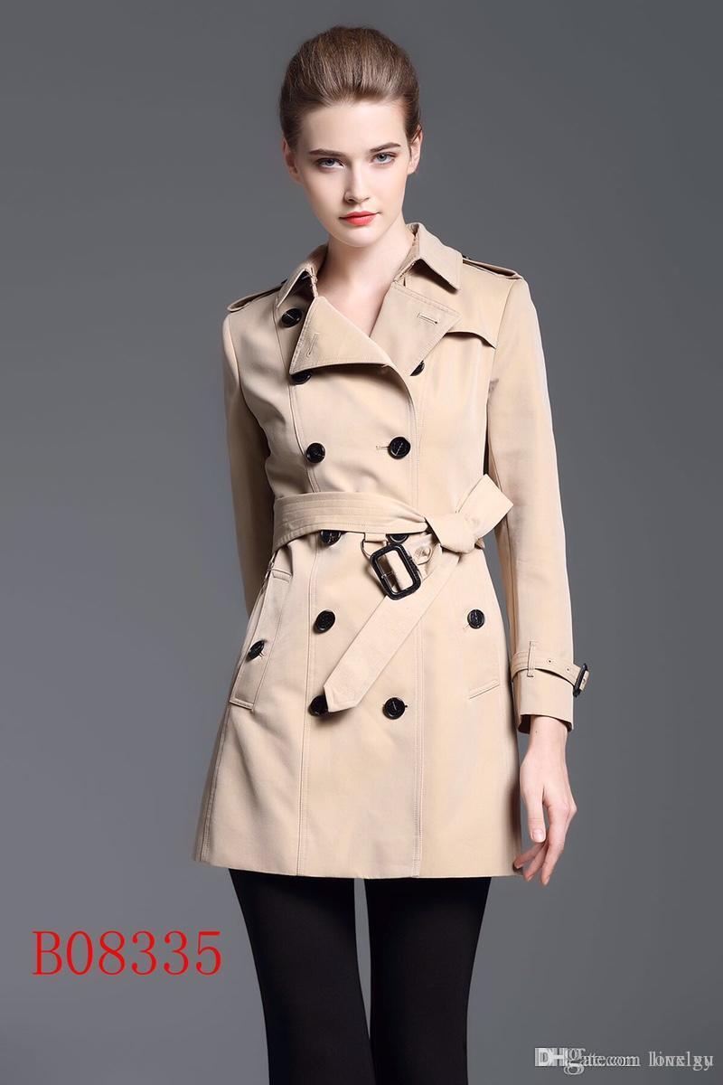 المرأة خندق معطف طويل سترة واقية مزدوجة الصدر حزام ضئيلة خندق المعاطف بلون ماء خندق المعاطف معطف العلامة التجارية الكلاسيكية U