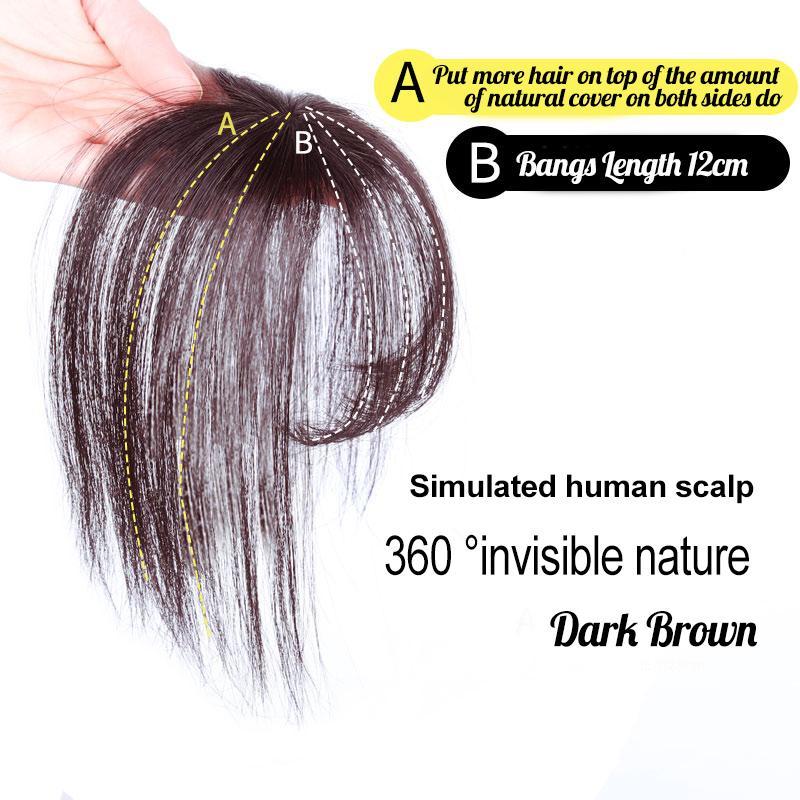 Clip de Extensión Topper 3D Aire Bangs pelo humano de la Corona postizo con Templos de la Mujer [Aire flequillo de la cubierta] ángulo corto de color marrón oscuro