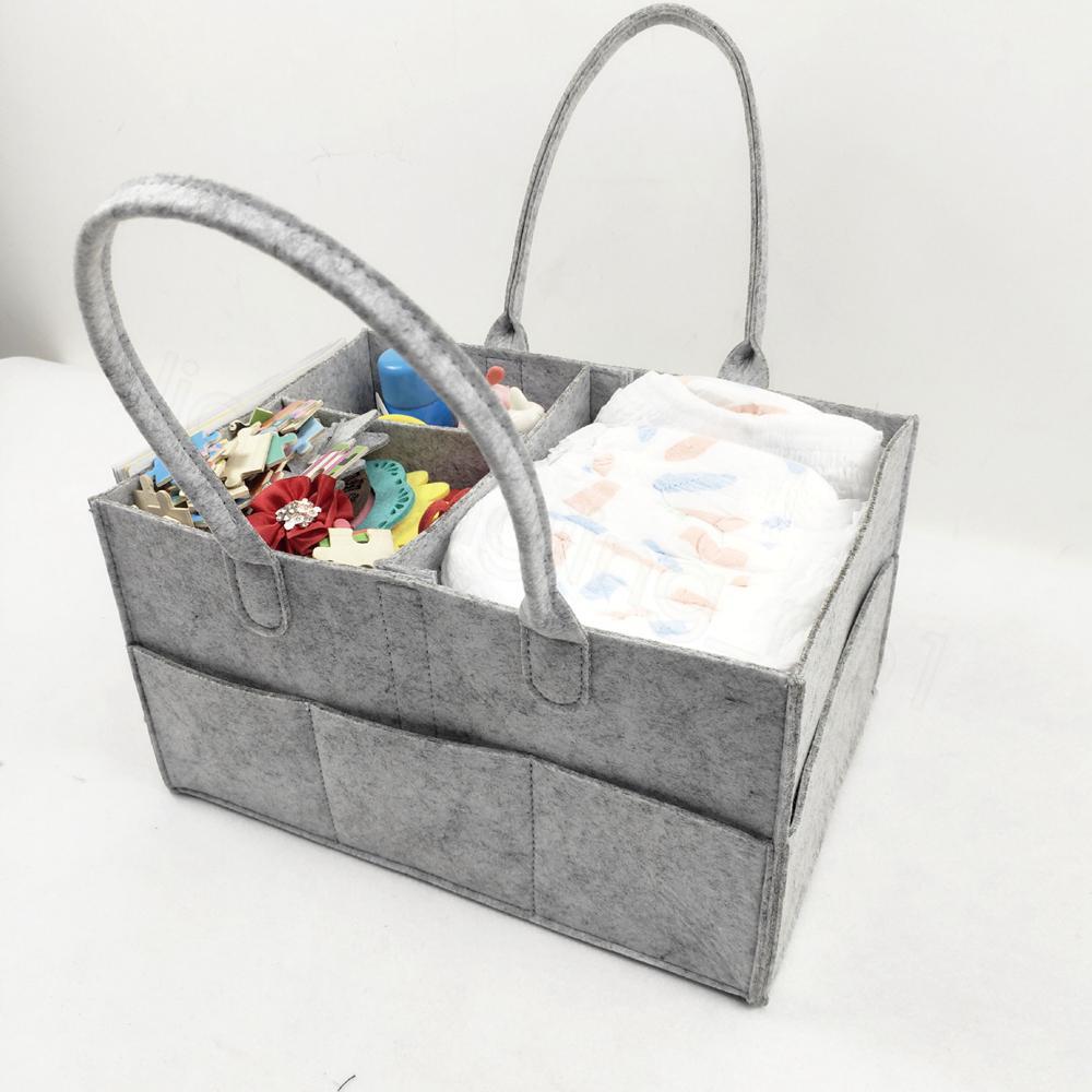 Feltro do tecido do bebê malas infantil Grey sacola do tecido portátil Car Viagem Organizador Felt Basket recém-nascido da menina do menino fralda saco de armazenamento FFA3544