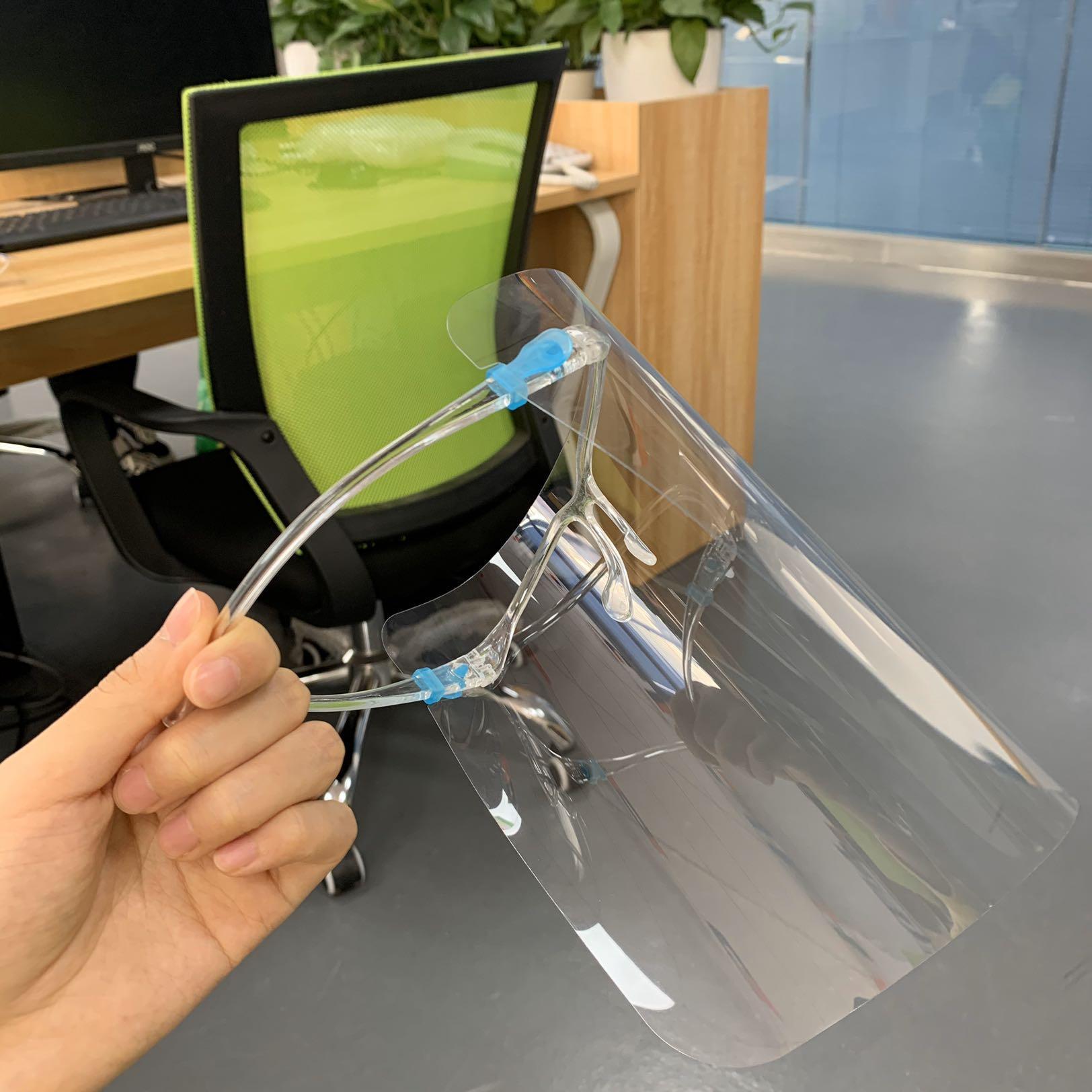 EEUU Stock Speical Diseño adulto protector de cara con los vidrios Plataforma anti-vaho máscara protectora transparente de seguridad a prueba de polvo de la cara llena de Protección