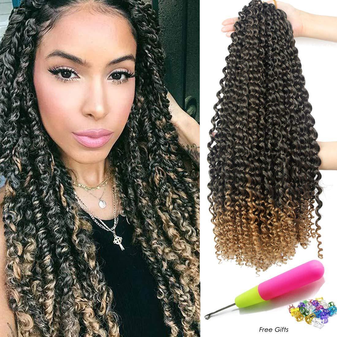 1 Packs Leidenschaft Twist Haar 18 Zoll lange böhmische Zöpfe Wasserwelle für Leidenschaft Twist Häkeln Flechten Haar Synthetische Haarverlängerung