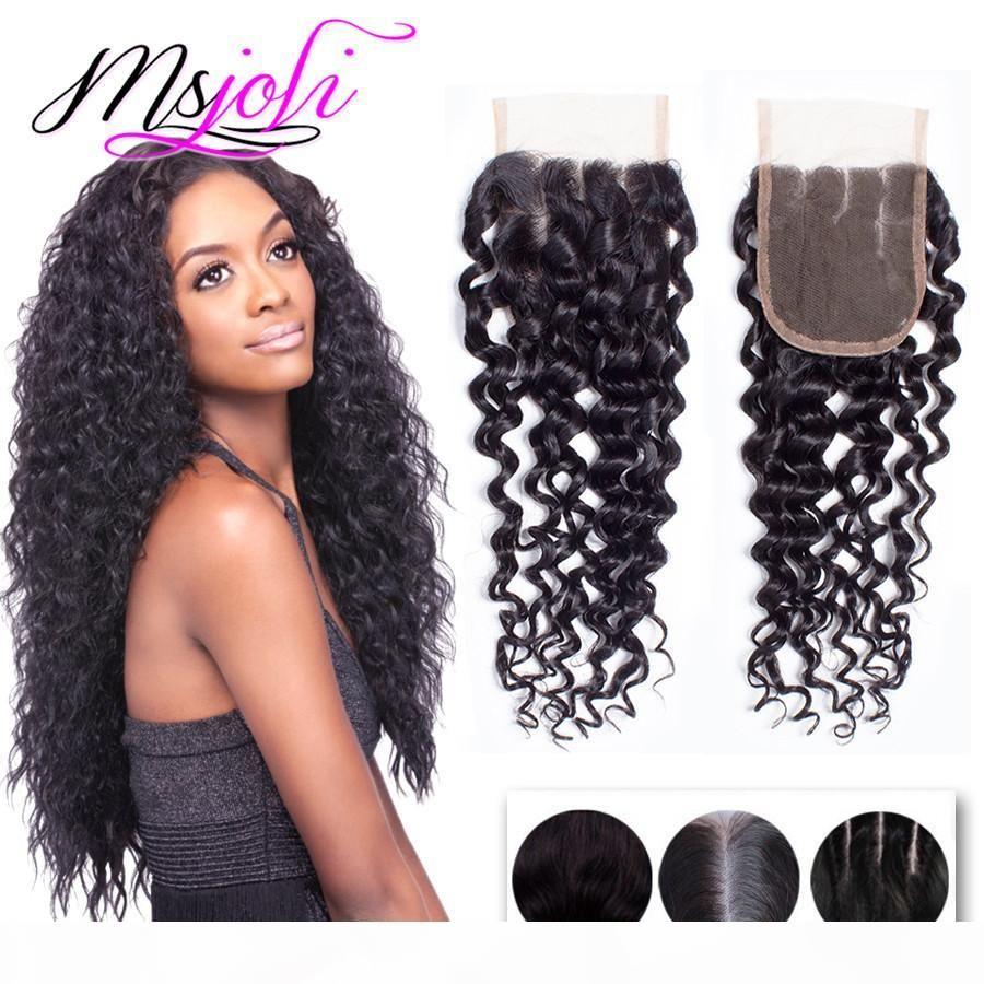 Malaysian Virgin Cabelo 4x4 Lace Encerramento Weaves onda profunda Natural Color Hot Selling beleza do cabelo gratuito Três Oriente Parte 6-22 polegadas