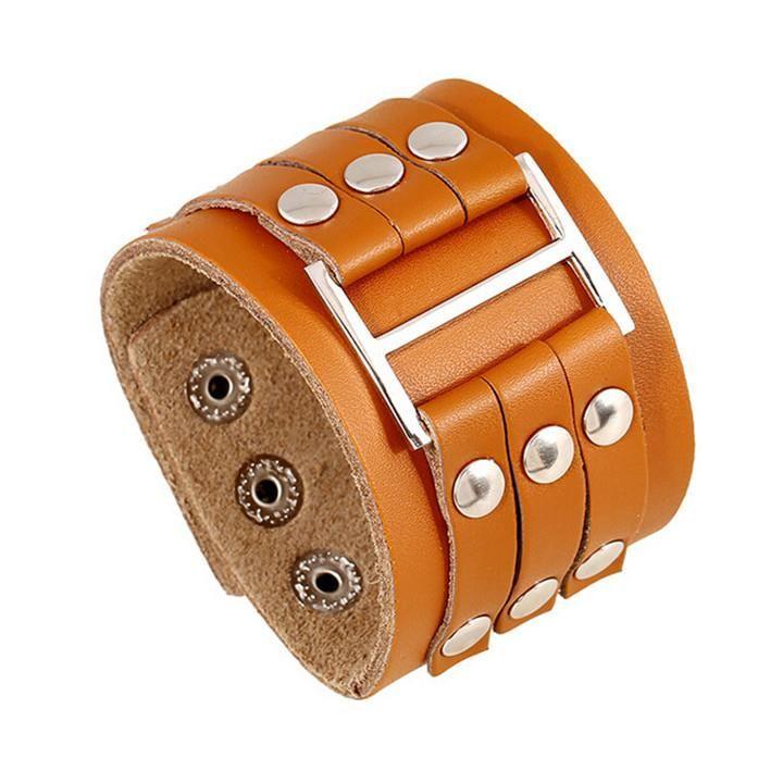 Vintage 100% cuero auténtico anchas de los brazaletes para hombre de la roca del remache de los brazaletes de la aleación de joyería hecha a mano botón de la moda regalos perfectos DCBJ43