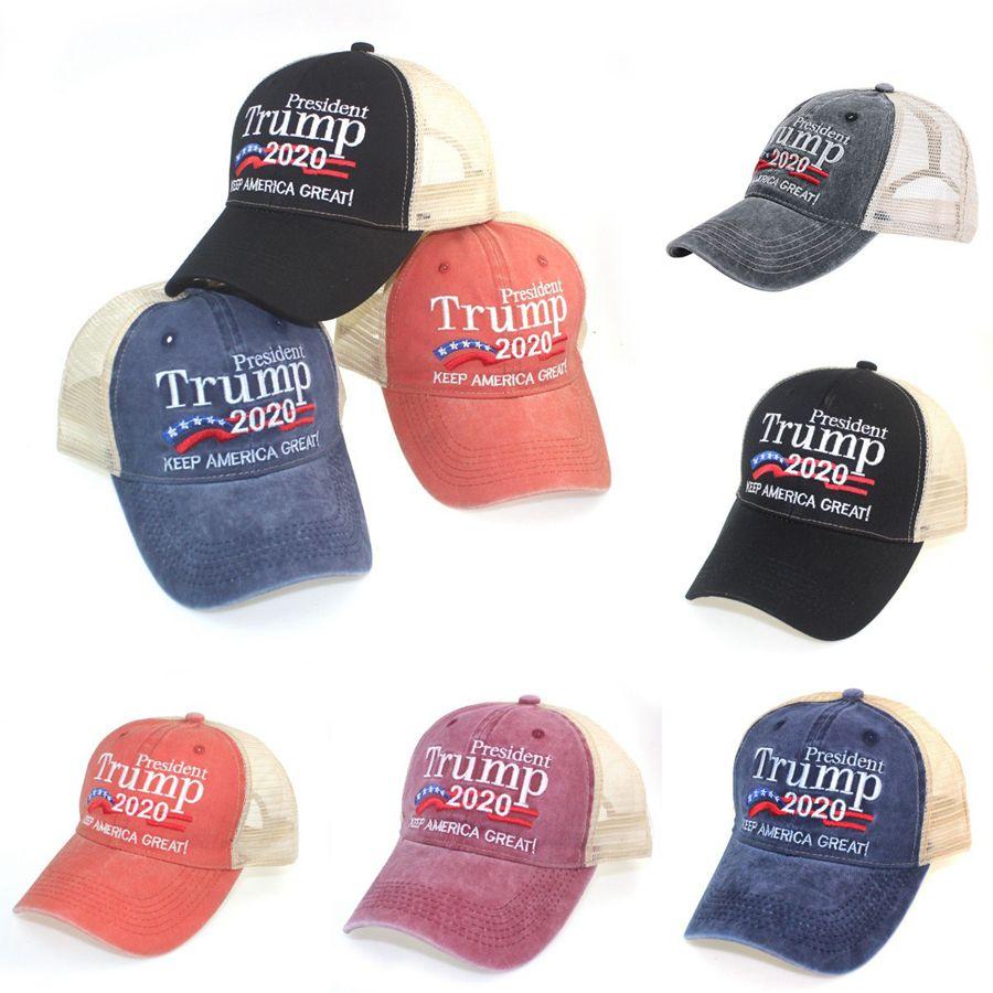 Trump Hat Keep America Великое Письмо Вышитый Омываются Ткань Болл Cap Открытое Путешествие Трамп 2020 Президент Бейсболка партии Шляпа OOA8025