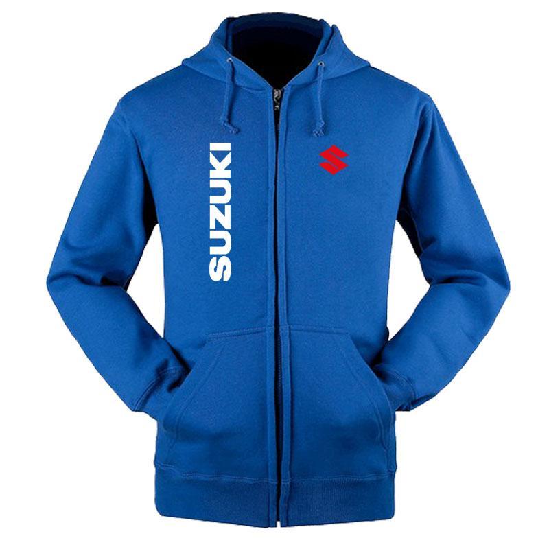Kapüşonlular Erkekler Suzuki Otomobil Logo Baskı Casual Uzun Kol Kapşonlu Sweatshirt Erkek fermuar Ceket Man Hoody Giyim