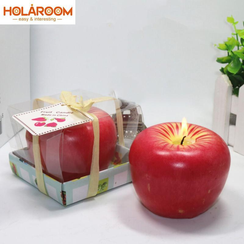 50pcs جميل التصميم الأحمر للحصول على اي شكل الفاكهة الشموع المعطرة ليلة عيد الميلاد هدايا عيد الميلاد هدايا عيد الميلاد الإبداعية ديكور المنزل